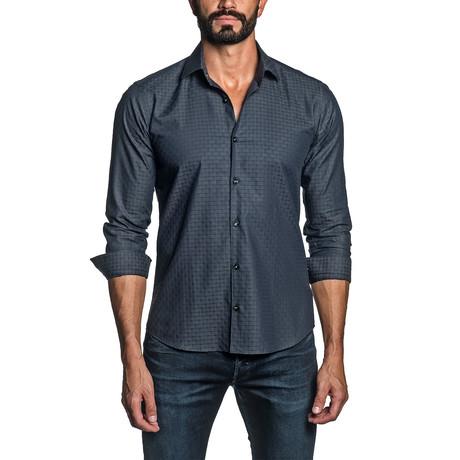 Jacquard Long Sleeve Button Up Shirt // Midnight Blue (S)