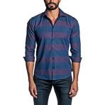 Striped Long Sleeve Button Up Shirt // Blue + Cranberry (L)