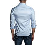 Pinstripe Long Sleeve Button Up Shirt // Blue (L)