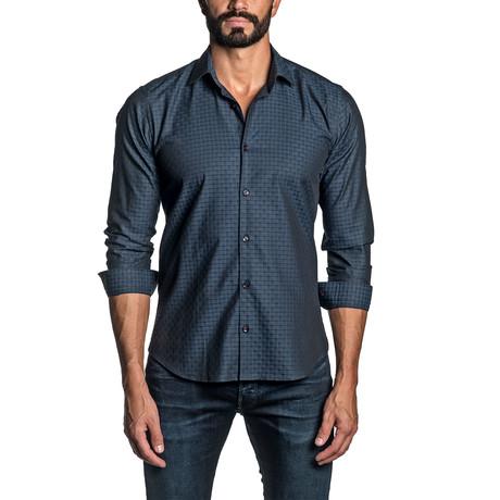 Jacquard Long Sleeve Button Up Shirt // Blue (S)