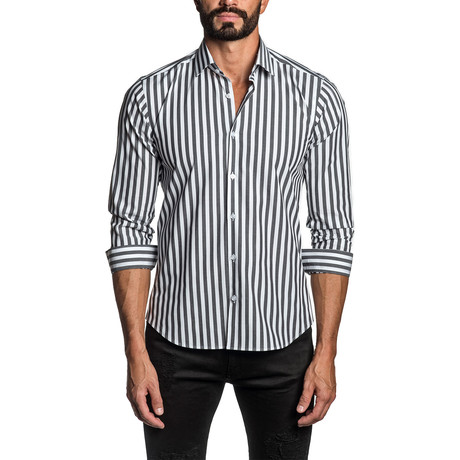 Striped Long Sleeve Button Up Shirt // Black + White (S)
