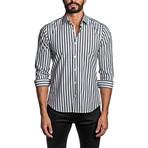 Striped Long Sleeve Button Up Shirt // Black + White (L)