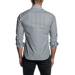 Striped Long Sleeve Button Up Shirt // Black + White (2XL)