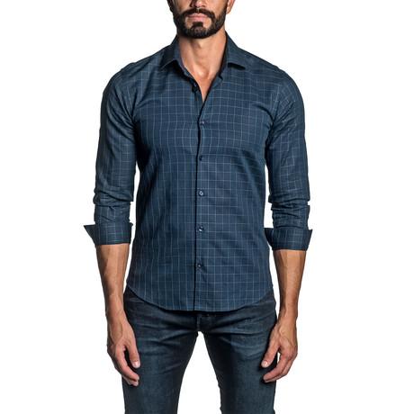 Check Long Sleeve Button Up Shirt // Dark Blue (S)