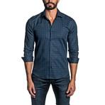 Check Long Sleeve Button Up Shirt // Dark Blue (XL)
