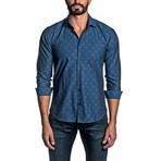 Jacquard Long Sleeve Button Up Shirt // Dark Blue (M)