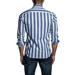Atlantic Striped Long Sleeve Button Up Shirt // White + Blue (2XL)