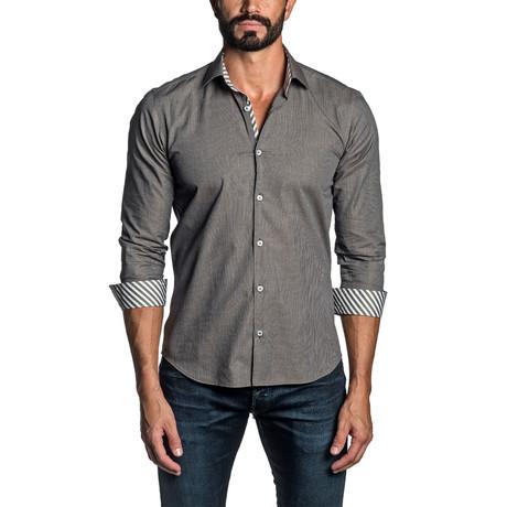 Long Sleeve Button Up Shirt // Brown (S)