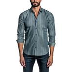 Striped Long Sleeve Button Up Shirt // Blue + Green (S)