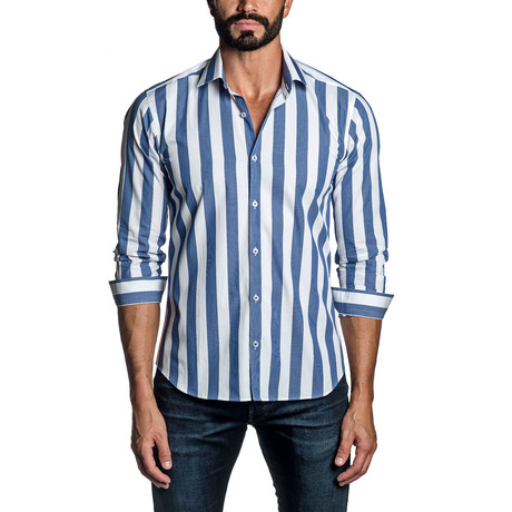 Atlantic Striped Long Sleeve Button Up Shirt // White + Blue (S)