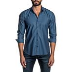 Jacquard Long Sleeve Button Up Shirt // Steel Blue (2XL)