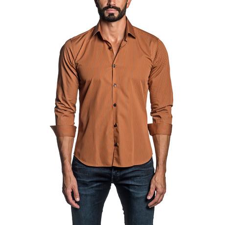 Striped Long Sleeve Button Up Shirt // Orange (S)