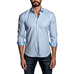 Jacquard Long Sleeve Button Up Shirt // Light Blue (2XL)