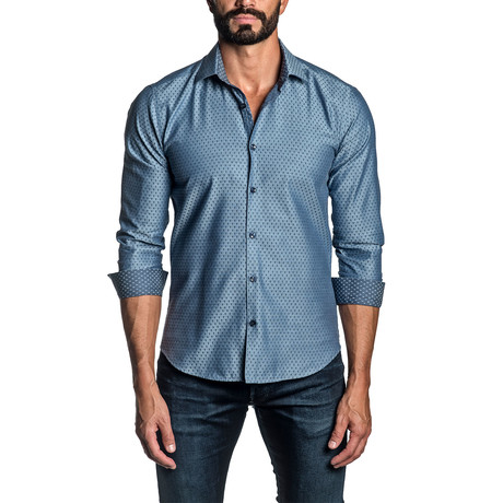 Long Sleeve Button Up Shirt // Blue + Steel (S)