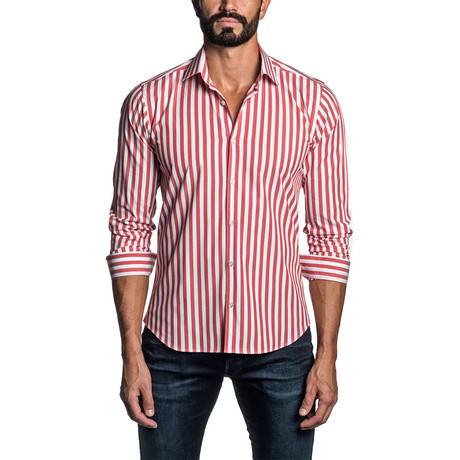 Striped Long Sleeve Button Up Shirt // Red + White (S)
