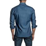 Jacquard Long Sleeve Button Up Shirt // Steel Blue (M)