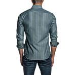 Striped Long Sleeve Button Up Shirt // Blue + Green (M)