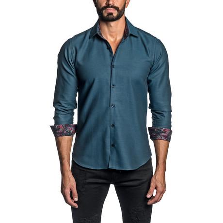 Jacquard Long Sleeve Button Up Shirt // Teal (S)