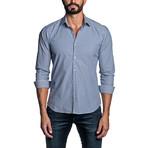 Striped Long Sleeve Button Up Shirt // Blue (S)