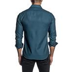 Jacquard Long Sleeve Button Up Shirt // Teal (XL)
