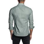 Gingham Long Sleeve Button Up Shirt // Green + Black (2XL)