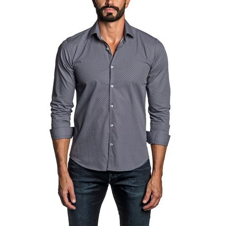Micro Print Long Sleeve Button Up Shirt // Navy (S)