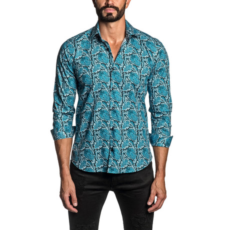 Paisley Long Sleeve Button Up Shirt // Blue (S)