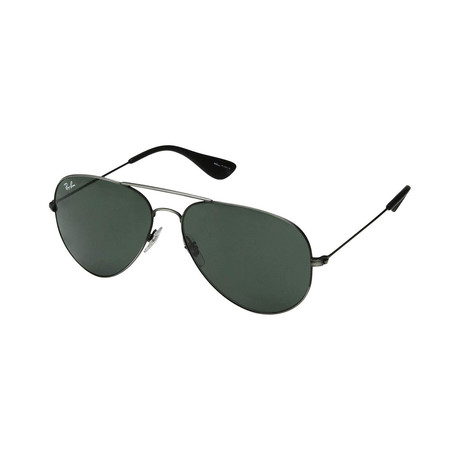 Unisex Classic Large Aviator Sunglasses // Gunmetal + Green