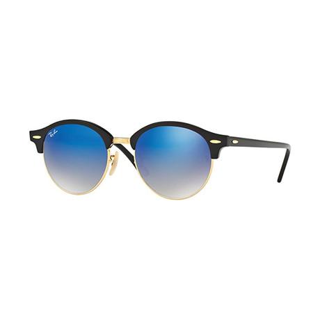 Unisex Round Clubmaster Sunglasses // Black + Gold + Blue Gradient