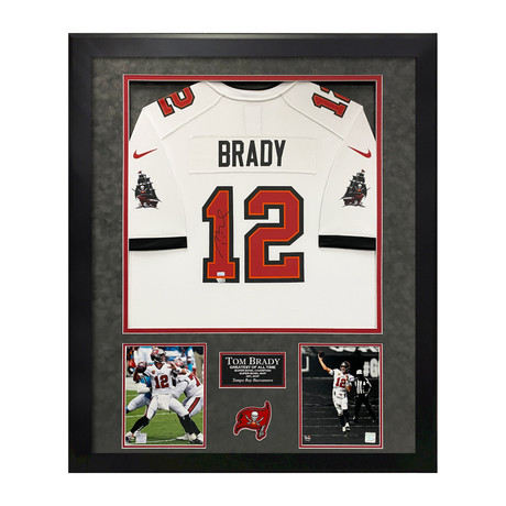 Tom Brady // Tampa Bay Buccaneers White Jersey // Framed // Signed