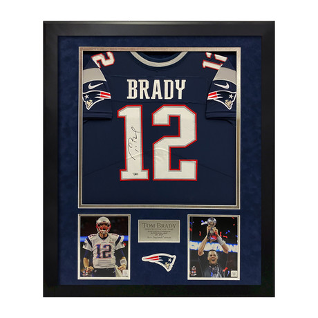 Tom Brady // New England Patriots Blue Jersey // Framed // Signed
