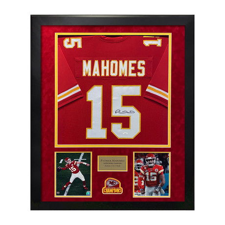 Patrick Mahomes // Kansas City Chiefs Red Jersey // Framed // Signed