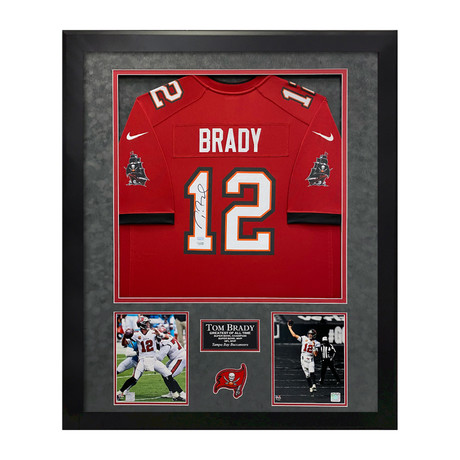 Tom Brady // Tampa Bay Buccaneers Red Jersey // Framed // Signed