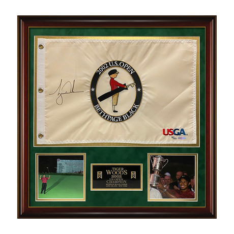 Tiger Woods // 2002 U.S. Open Pin Flag // Framed // Signed