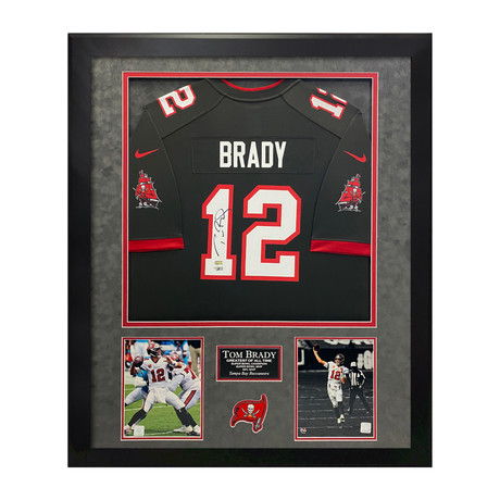 Tom Brady // Tampa Bay Buccaneers Pewter Jersey // Framed // Signed