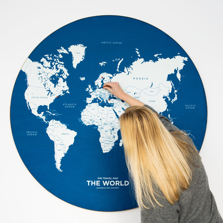 World Map // Blue (Small)
