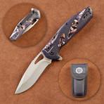 Mossy Oak Camo Handle Folding Liner Lock + Sheath