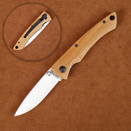 Ceramic Folding Knife // Olivewood Handle Pocket Clip