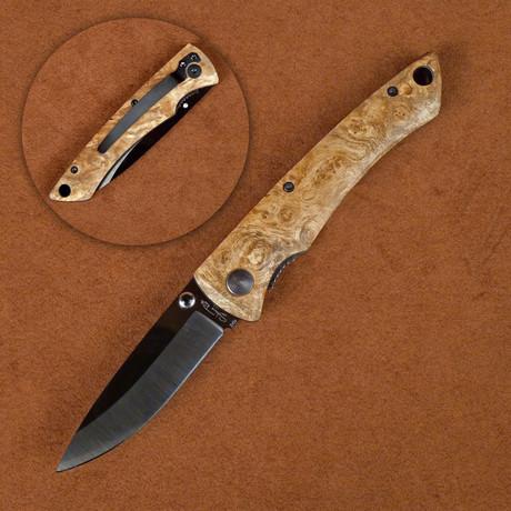 Ceramic Folding Knife // Desert Ironwood Handle Pocket Clip