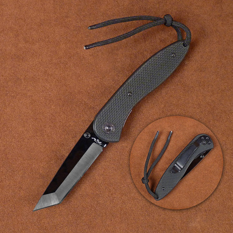 Ceramic Folding Knife // Tanto Style G10 Handle Pocket Clip