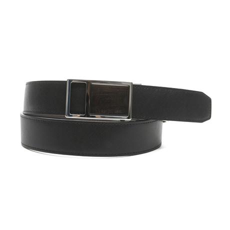 """Bruce Men's Leather Belt // Black-Brown // 45"""""""