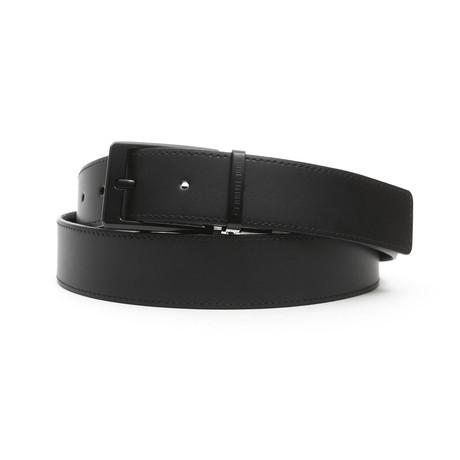 """Edward Men's Leather Belt // Nero Black // 45"""""""