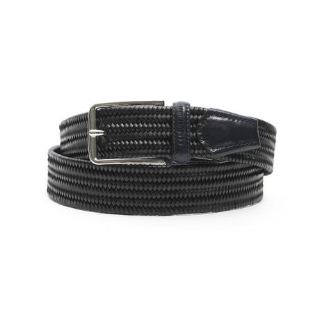 """Reece Men's Leather Belt // Navy Blue // 45"""""""