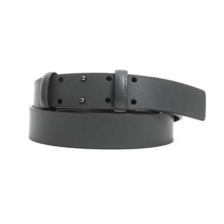 "Coby Men's Leather Belt // Grigio Gray // 45"""