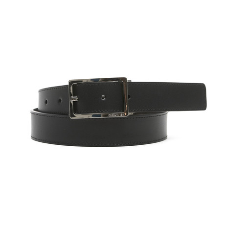 "Conrad Men's Leather Belt // Black-Brown // 47"""