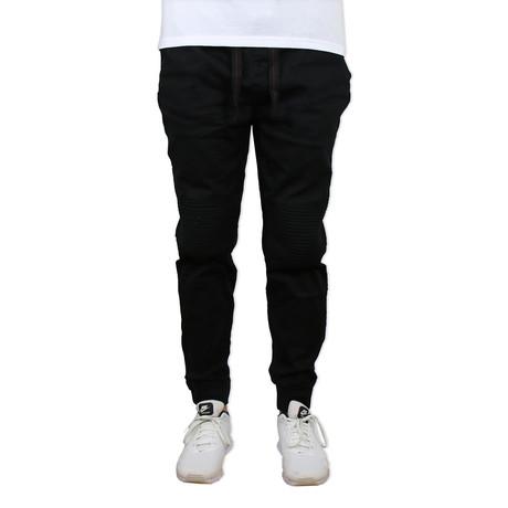 Cotton Twill Moto Joggers // Black (S)