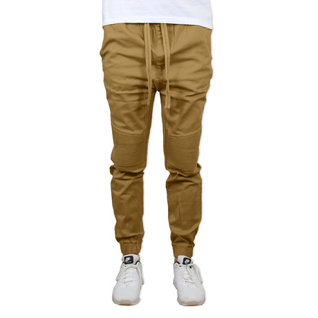 Cotton Twill Moto Joggers // Timber (S)