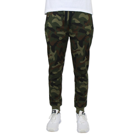French Terry Slim Fit Zipper Pocket Joggers // Camo (S)