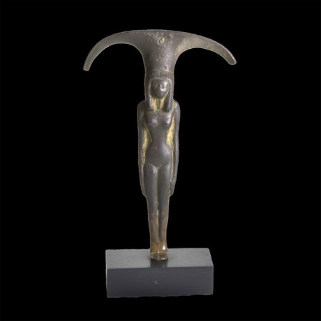 An Egyptian Bronze Mirror Handle Of A Nude Woman, New Kingdom , Ca. 1570 - 1070 BC