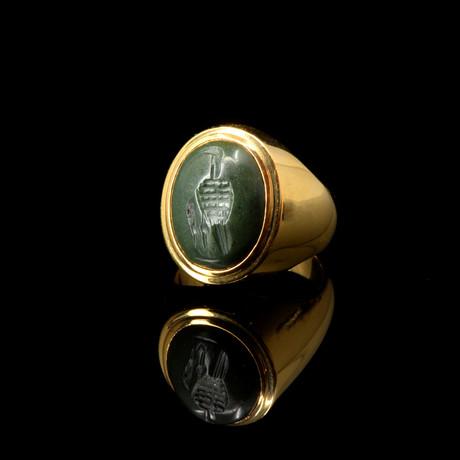 An Egypto-Roman Green Jasper Intaglio Ring, Ptolemaic - Roman Period, Ca. 1St Century BC/BCE